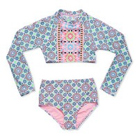 Girl's Gossip Girl 'Star Crossed' Two-Piece Rashguard Swimsuit,