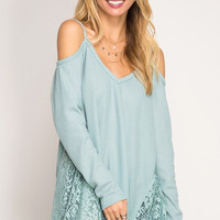 Draped in Lace Top - Dusty Blue - Ships Tuesday 3/7