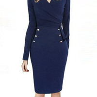 Deep Blue Long Sleeve Button Detail Midi Dress