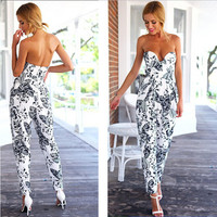 Sexy Long Cotton Jumpsuit 2015 Summer Style New Arrival Solid Rompers Leaves Printing Casual Clothes Stomacher Type Playsuits