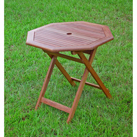Octagonal 30-inch Folding Patio Dining Table in Weather Resistant Wood