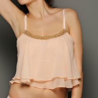 SIENNA Silver Peony double layer Silk Chiffon Camisole Top - Bridal sleepwear lingerie