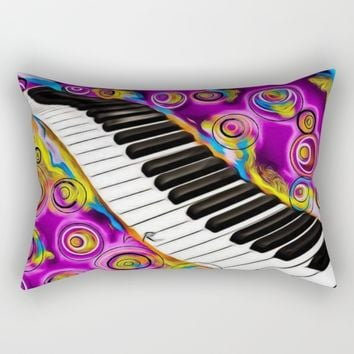 PIANO FLOWS Rectangular Pillow by violajohnsonriley
