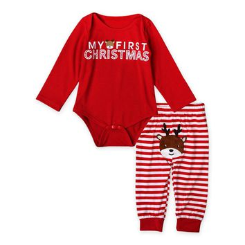 New Arrival Baby Boys Girls My First Christmas Print Cotton Clothing Set Long Sleeved Bodysuit+Striped Pants Christmas Gift DS40