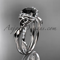14kt white gold diamond celtic trinity knot wedding ring, engagement ring with a Black Diamond center stone CT7274