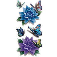 TAFLY Women's Blue Flower 3D Peony Butterfly Lower Back Temporary Tattoos 5 Sheets