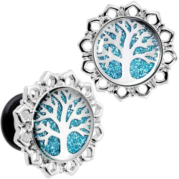 0 Gauge Blue Glitter Inlay Tree of Life Single Flare Plug Set