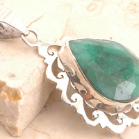 Sparkling Dyed Emerald Pendant in 925 Sterling Silver