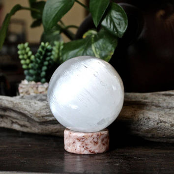 397g Polished Selenite Sphere w/ Stand, Wicca Crystal Ball, White Crystal Specimen, Wiccan Altar Supplies, Crystal Healing Stone Sphere