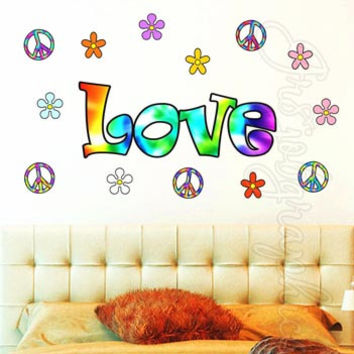 Words Wall Decals 70's Tie Dye Love Hippie Peace Retro Flowers Stickers Art HF3