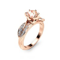 Nature Inspired Morganite Engagement Ring 14K Rose Gold Engagement Ring Branch and Leaf Morganite Ring