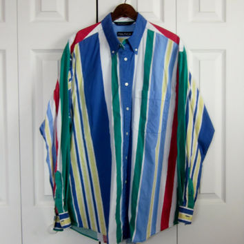 Vintage Colorful Striped Shirt Primary Colors Patriotic Nautical Shirt Mens Large Button Down Collar Stripe Long Sleeve