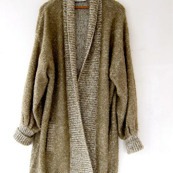 vintage long cardigan sweater. cocoon sweater coat. pocket sweater jacket. minimalist sweater.