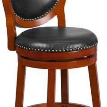 26'' High Light Cherry Counter Height Wood Stool with Oval Back and Walnut Leather Swivel Seat