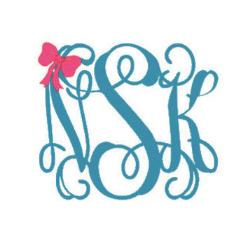 4.5  Vinyl  Monogram with Bow Decal by CuttinCrazy on Etsy