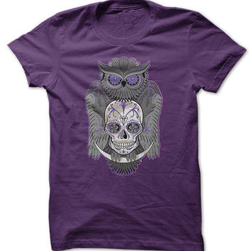 Purple Owl Skull Shirt