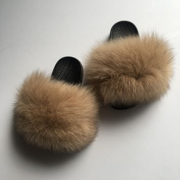 Kids nude fox fur slides tan fur slippers