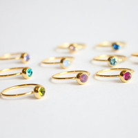 Swarovski Crystal 18k gold ring, simple, tiny, gem, birthstone ring, birthday gift, friendship, Solitaire delicate ring, gift under 15 tiny