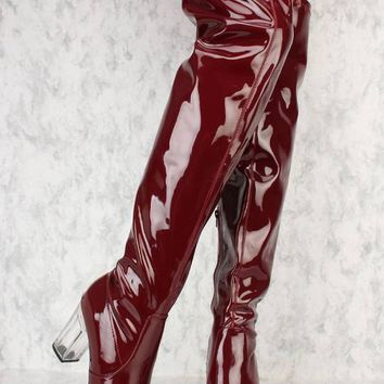 Wine Thigh High Clear Heel Sexy Fall Boots