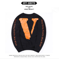 VLONE × OFF-WHITE 16FW OW joint large V long-sleeved men and women couple round neck velvet sweater tide Black