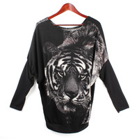 'The Catarine' Black Tiger Head Printed Long Sleeve Top