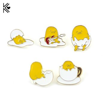Cartoon Cute Kawaii Gudetama Lazy Egg Badges Brooch Pins Button Pins Jeans Bag Decoration Brooches Gift For Men Women Accessory