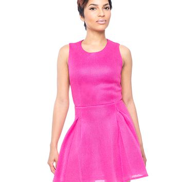 PINK IT THROUGH NEOPRENE FLARE DRESS
