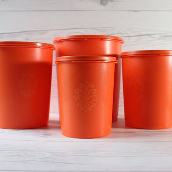 Vintage Set of 4 Large Orange Plastic Tupperware Storage Containers with Lids | Made in the USA