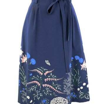 70s Navy Floral Border Print Wrap Skirt & Tote Bag