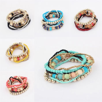 Mulitilayer Mixed Colors stretch Beaded Bohemian Women Bracelet Bangle = 1928766916