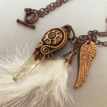 Angel Feather Quartz Crystal Point Guardian Angel Necklace