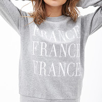 FOREVER 21 France Graphic Pullover Heather Grey/White