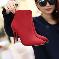 Candy Solid Color Stiletto Heel Pointed Toe Zipper Ankle Boots