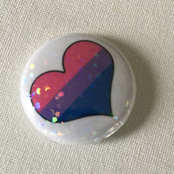 BENEFITS ACLU- Holographic Glitter Bisexual One Inch Button, Pride, Heart, Pink, Purple, Blue