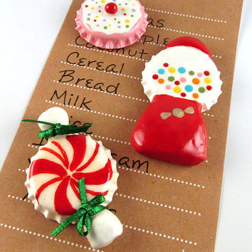 Sweet tooth magnets - Cupcake - gumball machine - starlight mint candy - set of 3 - cute fridge magnets - bottle cap magnets - candy decor