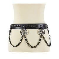 "Hanging Black 2"" Inverted Pentagram & Pyramid Studs & Chains Leather Belt 1-1/2"" Wide"