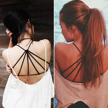 Celebrity Sexy Bralette Cage Caged Back Cut Out Padded Bra Bralet Crop Tops