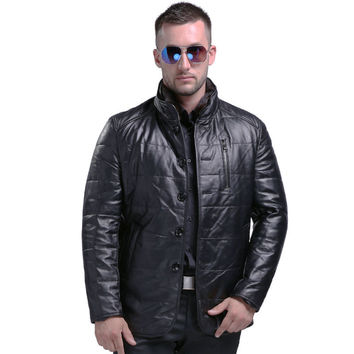 Men's Fashion Sheepskin Genuine Leather Down Coat With Mink Fur Collar Winter Warm Real Leather White Duck Down Coat