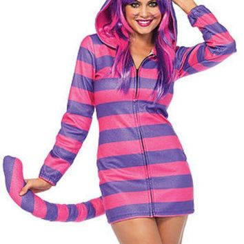 The Cozy Cheshire Cat Fleece Dress W/cat Ear Hood And Long Tail In Pink And Purple