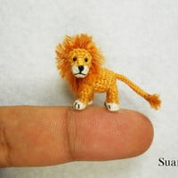 Miniature Crochet Lion  Tiny Crocheted Animals  Made To by SuAmi