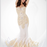 Sweetheart Corded Lace Mermaid Formal Prom Dress Tiffany Designs 16097