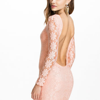 Pink Floral Lace Long Sleeve Backless Mini Dress