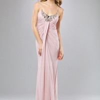 Pale Pink Gathered Chiffon Rhinestone Neckline Prom Dress - Unique Vintage - Cocktail, Evening  Pinup Dresses