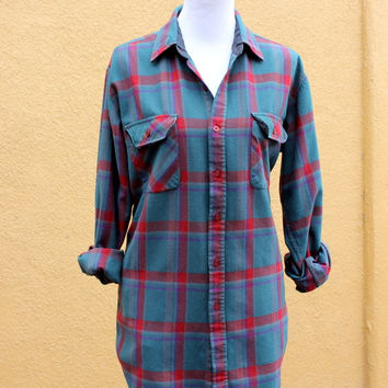 Vtg Shirtdress Boyfriend Fit Plaid Button down red blue checked pockets long tall Large XL