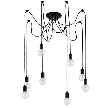 8 Pendant Light Chandelier Vintage Lights,Matte Black Pendants Lights.