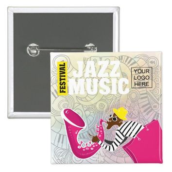 Colorful Jazz Music Festival add logo personalized Button