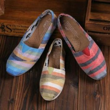 VOND4H TOMS UNISEX FLAT SHOES FASHION LEISURE LOAFERS STRIPED