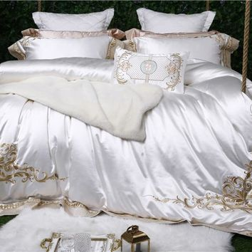 Luxury white 100% silk cotton Royal embroidery Bedding Set King Queen Size Duvet Cover Bed Linen Bed sheet Pillowcases 4/7pcs
