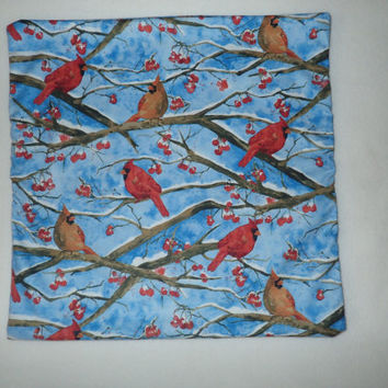 Decorative Pillow Cover, Winter Pillow Cover, Holiday Decor,16 x 16 Pillow Cover, Cardinals, Red Birds, Winter Birds, Snow Scene, Red Berry