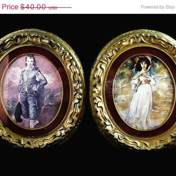 On Sale Vintage, Framed Famous Prints, Gold Ornate, Antiqued, Oval Framed, Prints, Pinkie and The Blue Boy Set